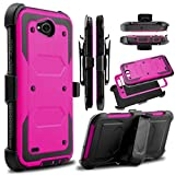KooJoee Hot Pink Armor Defender Case Compatible with LG Fiesta LTE/LG X Power 2 3/LG X Charge/K10 Power/LG LV7, Heavy Duty Shockproof Kickstand Belt Clip Holster Rugged Protection for LG X Power 3