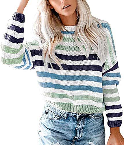 Lantch Damen Pullover Sweater Gestreift Strickpullover Casual Sweatshirt Pulli Elegant Jumper Oberteile(lg,s)