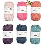 Woll-Set Babywolle Rico Baby Cotton Soft dk 6x50g #52, Strickpaket, Häkelpaket mit 1 Tigerknopf, Baumwollmischgarn, Sommerwolle Baby