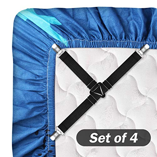 SOLARXIA Bed Sheet Straps Adjustable Bed Sheet Fasteners Mattress Holder Straps Fitted Suspenders Grippers Clips for Bedding Sheets Mattress Covers Sofa Cushion