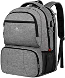 Lunch Backpack, Insulated Cooler Backpack for Men Women, 17 Inch Laptop Backapck with USB Charging Port Leakproof Lunch Cooler Backpack for Lunch Picnic Hiking Camping Beach Trip, Grey