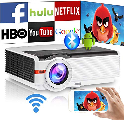 Wireless Phone Projector Wifi Airplay 1080P Smart Bluetooth Home Movie Gaming TV Projector 6500 Lumen LCD LED Digital HD Android Video Projectors Apps HDMI USB Audio Zoom Indoor Outdoor Cinema