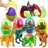 OCATO Easter Eggs Filled with Dinosaur Toys Jumbo Deformation Dinosaur Eggs Easter Egg Fillers Plastic Surprise Eggs Easter Basket Stuffers Easter Party Favors for Kids Boys Girls Toddlers, 6 Packs