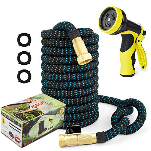"""50ft Garden Hose Expandable Water Hose, 3/4"""" Solid Brass Fittings & 9 Function Spray Nozzle & Extra Strength Fabric 3-Layers Latex Core, Lightweight Flexible Pocket Hoses for Lawn Plants Car Washing"""