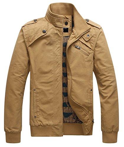 chouyatou Men's Casual Long Sleeve Full Zip Jacket with Shoulder Straps (Medium, Khaki)