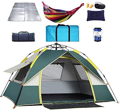 Ankon Camping Tienda instantánea automática Tienda Plegable 4-6 Persona al Aire Libre campaña Tienda de campaña Familia 190t Oxford Rain for Backpacking Pesca (Color : Green, Size : 200X200X135cm)