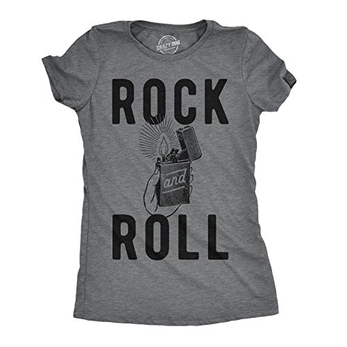 Womens Rock and Roll Lighter Tshirt Funny Music Concert Tee for Ladies (Dark Heather Grey) - L