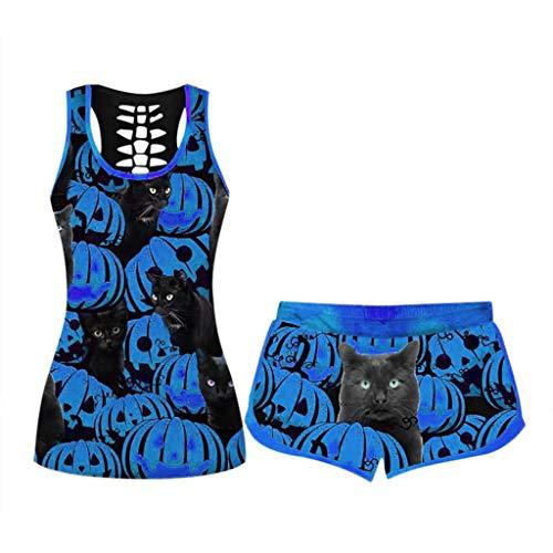 SOMESUN Damen Stilvoll 3D T-Shirt Kurze Ärmellos Set Kurzarm Crop Top Shorts Sommer Sport Set Beiläufige Sportswear Pyjamas Yoga Kleidung Mädchen