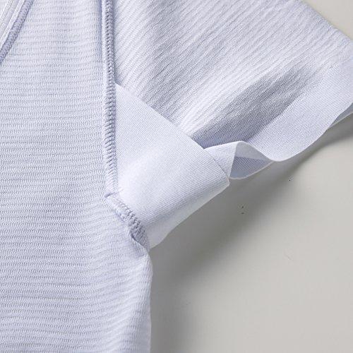 [グンゼ]インナーシャツクールマジック・部屋干しクイック汗取り付き2分袖MC5951レディースホワイトサックス日本L(日本サイズL相当)