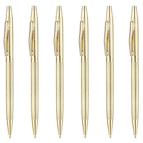 Unibene Slim Metallic Retractable Ballpoint Pens - Carved Gold, Nice Gift for Business Office Students Teachers Wedding Christmas, Medium Point(1 mm) 6 Pack-Black ink