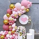 Kit de Guirnaldas de Globos 72 Piezas Globos de Color Rosa Púrpura Globos Metálicos Confeti para Niña Decoración de Boda Cumpleaños Fiesta Decoracion Comunion, Navidad, Decoración Bautizo