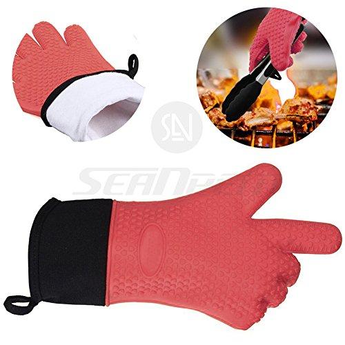 résistant à la chaleur Gants de cuisine, avec poignée antidérapante (1 paire) Gants de cuisine en silicone étanche Gants de four pour barbecue, cuire, griller – Inpay RED