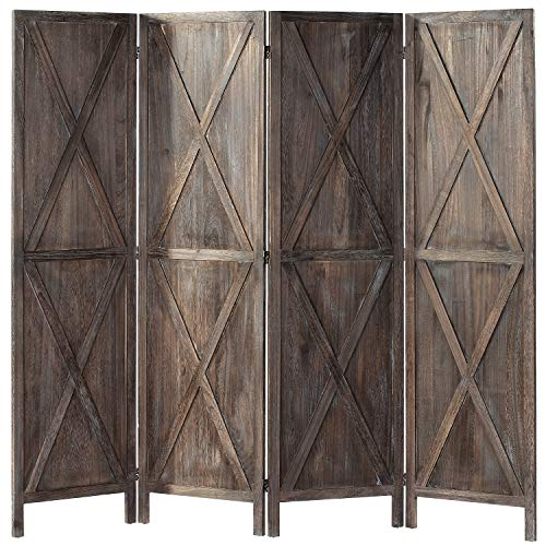 iVilla 5.9 Ft Tall Wood Room Divider, 4 Panel Rustic Folding Privacy Screens Room Divider, Partition Wall dividers for Rooms, Room Separator, Temporary Wall, Folding Screen, Rustic Barnwood (Brown X)