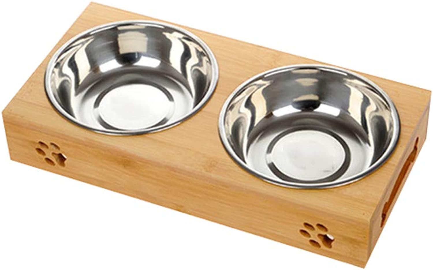 Gatto Doppio Bowl Rice Bowl Gatto Pot Cat Food Bowl Water Bowl Dog Dining Table, Silver, Doubles