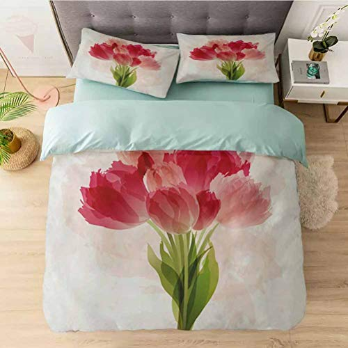 Microfiber Duvet Cover Set, Watercolor Painting Bouquet of Tulip Flower Artistic Botanica, Bedding Sets with Soft Lightweight Microfiber 1 Duvet Cover and 2 Pillow Shams, Pink Coral Green
