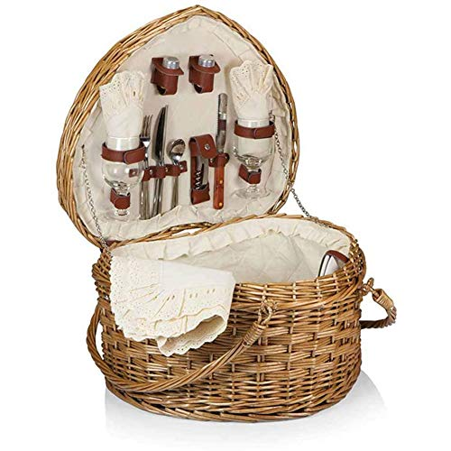 ZXD Heart Shaped Wicker Picnic Basket,Fruit Basket Rattan Storage Blue Portable Gift Blue Pastoral Picnic Basket Storage Basket,Brown