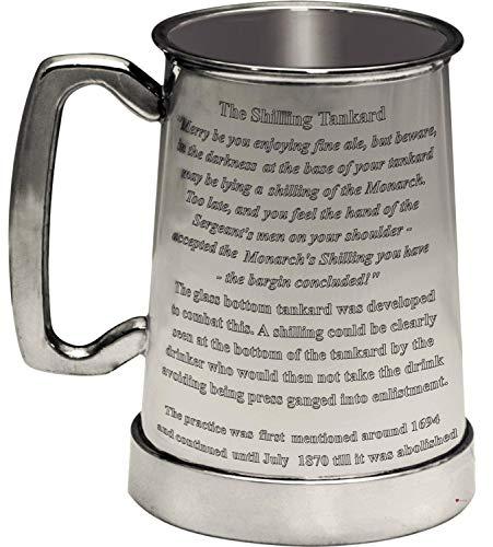 Boccale una Pinta dello Scellino del Re Fatto a Mano Boccale in Peltro Inglese con Manico a C - Boccale di Birra con Testo Personalizzato Inciso