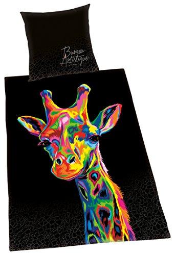 Herding BUREAU ARTISTIQUE Bettwäsche-Set Giraffe, Wendemotiv, Bettbezug 155 x 220 cm, Kopfkissenbezug 80 x 80 cm, Baumwolle/Satin
