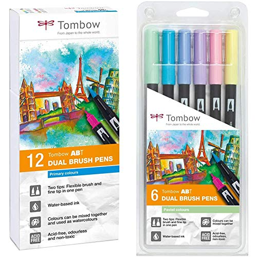 Tombow ABT-12P-1 Fiber Pen Dual Brush Pen con dos puntas Juego de 12 primarios + 6 Rotuladores Dual Brush Pastel