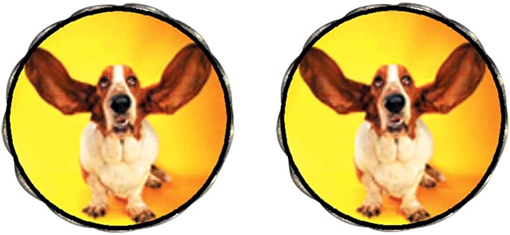 GiftJewelryShop Bronze Retro Style Basset Hound Big Ears Photo Clip On Earrings Flower Earrings #12