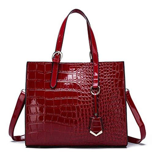 XYAZ Borsa a tracolla per borsa a tracolla selvaggia di grande capacità con motivo a coccodrillo di tendenza moda donna,rosso