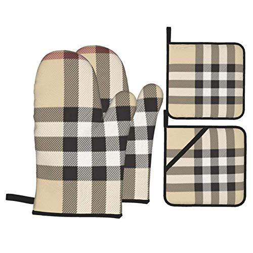 MZZhuBao - Set di guanti da forno e presine, resistenti al calore, per forno a microonde, per cottura e grigliate, colore: grigio