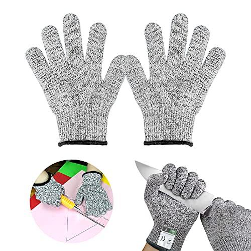 Nizirioo Schnittschutz Handschuhe, Schnittfeste Handschuhe Kinder, Arbeitshandschuhe Kinder, EN 388 Zertifiziert, Stufe 5 Schutz für Gartenbau, Messer zu Schärfen, Holz zu Schnitzen (5-7 Jährige)