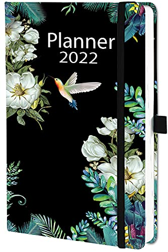 Diary 2022 Academic A5 Day Per Page, Daily Planner 2022 with Tabs, from Jan 2022 to Dec 2022,Pen Loop and Inner Pocket, 21×14.5×2.5cm