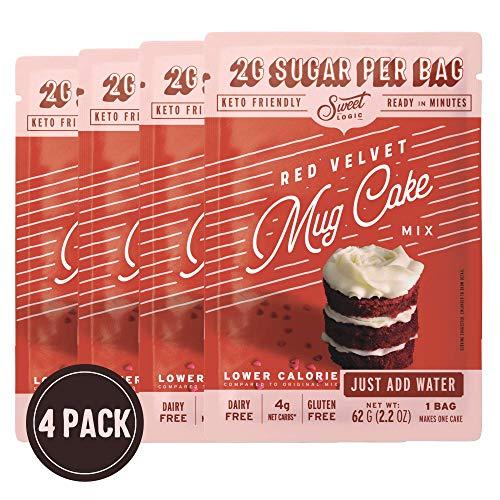 SWEET LOGIC Just Add Water Keto Mug Cake Mix | 4g Net Carbs, One Minute Easy Keto Baking | Sugar Free Gluten Free Keto Baking Dessert Naturally Sweetened | 4 Pack (Red Velvet)
