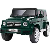 METAKOO Licensed Mercedes-Benz G500 Electric Car for Kids, 12V Ride On Car with Powerful Wheels, Remote Control/ Suspension/ Horn/ Music/ LED/ USB/ AUX, Safety Belt & Lockable Doors for Toddlers-Green