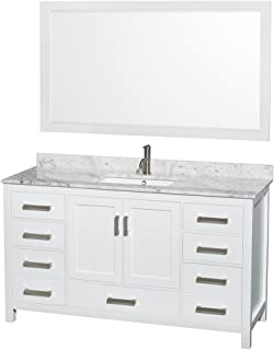 Wyndham Collection Sheffield 60 inch Single Bathroom Vanity in White, White Carrara Marble Countertop, Undermount Square Sink, and 58 inch Mirror