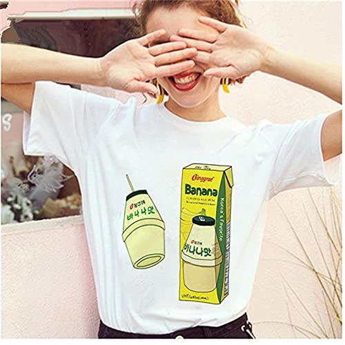 YDXC Camiseta De Mujer Mayos Camiseta De Leche De Plátano Camiseta Coreana para Mujer Mini Gráfico De Dibujos Animados De Leche para Mujer Harajuku 90S Top-14_L