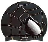 Swimxwin Gorro de Silicona Spider Negro | Gorro de Natación| Alta Comodidad y Adherencia | Diseño y Estilo Italiano