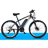TDHLW 26 Pulgadas Bicicleta de Montaña Eléctrica para Adultos, 50 mph, 27 Velocidades Velocidad Variable MTB Eléctrica, 250 W 36V Ebike 10Ah Batería Extraíble, Velocidad Máxima 35 km/h,Azul