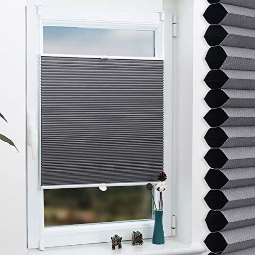 Grandekor Wabenplissee Klemmfix Verdunkelung Thermo Zweifarbig 110x130cm (BxH) Weiß-Grau/Doppelplissee ohne Bohren für Fenster & Tür, Sonnen-, Sicht- & Schallschutz Wärmeisolierung, Kein Geruch