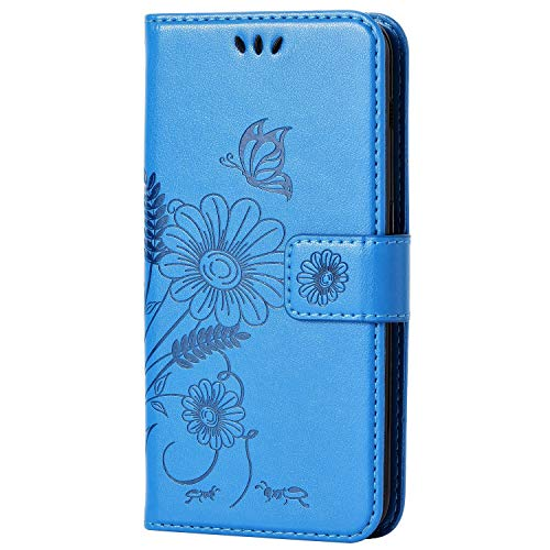 kazineer Samsung Galaxy A3 2017 Hülle, Galaxy A3 (2017) Handyhülle Leder Tasche Schutzhülle Blume Muster Etui für Samsung A3 2017 Case (Türkis-blau)