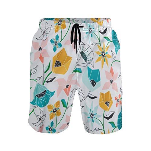 MONTOJ Calliope - Pantalones Cortos de Playa para Hombre, diseño geométrico, Color Dorado y Rosa