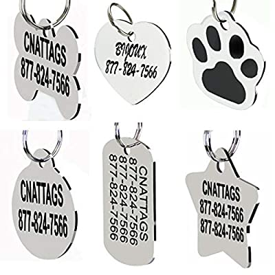 Stainless Steel Pet ID Dog Tags Personalized Front and Back Engraving (Bone)