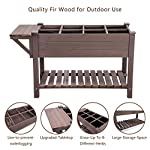 """Raised Garden Bed, Elevated Plant Boxes Outdoor Large with Grow Grid - with Large Storage Shelf 52.7"""" x 22"""" x 30"""" 13 ★ Upgrade with EXTRA side workstation and large bottom storage layer provides a spacious and convenient place to work & store. ★ Easy Growing Up To 8 different herbs/flowers/vegetable with grow grid. The dividers can be easy remove so it's one BIG OPEN PLANTER. ★ FREE INNER LINING are include to separate wood and soil. Spacious raised planter to ensure your plants and vegetables can breathe and grow healthy."""