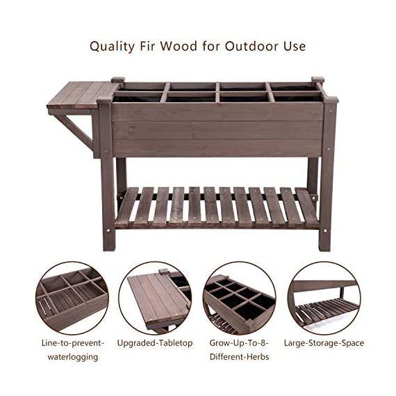 """Raised Garden Bed, Elevated Plant Boxes Outdoor Large with Grow Grid - with Large Storage Shelf 52.7"""" x 22"""" x 30"""" 6 ★ Upgrade with EXTRA side workstation and large bottom storage layer provides a spacious and convenient place to work & store. ★ Easy Growing Up To 8 different herbs/flowers/vegetable with grow grid. The dividers can be easy remove so it's one BIG OPEN PLANTER. ★ FREE INNER LINING are include to separate wood and soil. Spacious raised planter to ensure your plants and vegetables can breathe and grow healthy."""