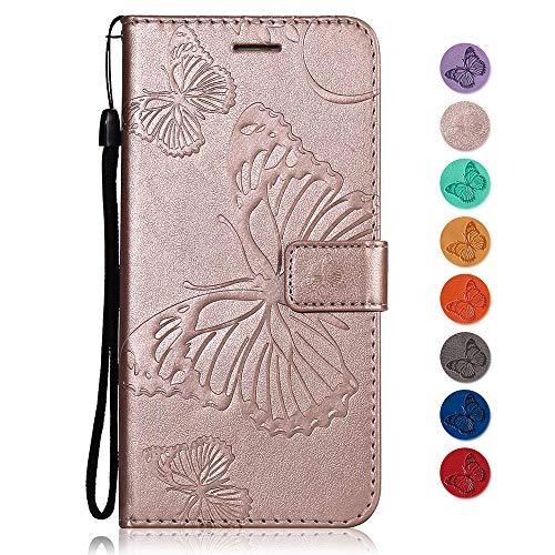 Funda Samsung Galaxy Note 3, GORASS PU Flip de mariposa en relieve Carcasa con Tarjetero y Función de Suporte para Samsung Galaxy Note 3, Oro rosa