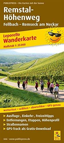 Remstal-Höhenweg, Fellbach - Remseck am Neckar: Leporello Wanderkarte mit Ausflugszielen, Einkehr- & Freizeittipps, GPS-genau. 1:35000 (Leporello Wanderkarte: LEP-WK)
