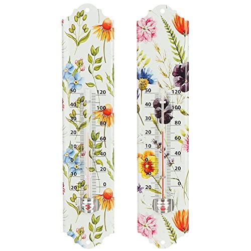 com-four® 2X Analoges Thermometer - Metall-Thermometer für innen und außen - Bunter Temperaturmesser mit Blumen-Design [Auswahl variiert] (2 Stück - Blumen-Design 29.5cm)