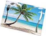 Manteles individuales con estampado de paisaje marino brillante, juego de 6...
