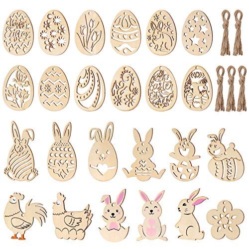 STOBOK Easter Eggs Bunnies Cutouts Unfinished Wood Slices Hanging Ornament for DIY Craft, Easter Party Decoration (48 Pack)