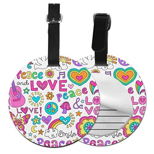 Juego de etiquetas de equipaje de piel personalizadas con diseño de flores de paz y amor y música, accesorios de viaje Negro Negro 2 PC