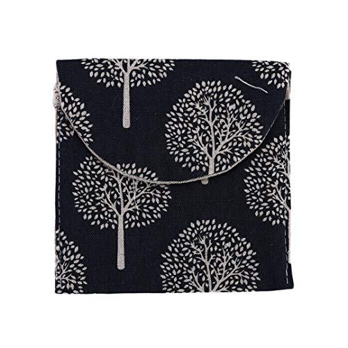 Weryffe Portable Serviettes Hygiéniques Sac Mignon Imprimé Menstruel Tasse Titulaire Pad Retrait Pochette Organisateur pour Femmes (Pin Bleu Marine)
