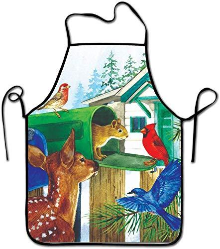 Wheatleya Freunde des Briefkasten-Zoo-Schutzblechs, buntes Tier-Thema-Bild, Unisexküchen-Schellfisch-Schutzblech mit dem Kochen der Backen-Gartenarbeit