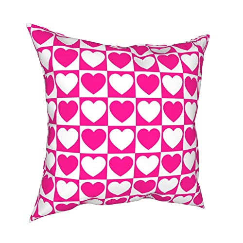 Fundas de almohada, diseño de cuadros rosa y blanco con corazones decorativos para el hogar, fundas de cojín cuadradas para sofá, sala de estar, cama, 45,7 x 45,7 cm