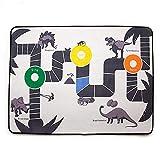 iBaste_ Kinderspielteppich Karikatur Dinosaurier Quadrat Teppich rutschfeste Aufgefüllte Baby Verkehrsspiel Matten Jungen Schlafzimmerdekoration